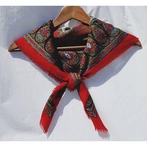 Accessories - Vintage Red Brown Club 7 Echo Wool Scarf